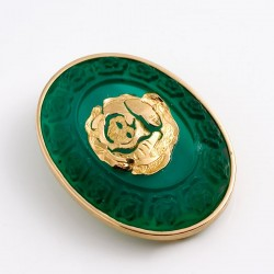 Brosche, 750- Gold, Glas