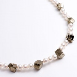 Pearl necklace, pyrite cubes, 925- silver