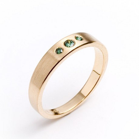Ring, 585- Gold, green diamonds