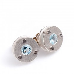 Stud earrings, 925 silver, aquamarine