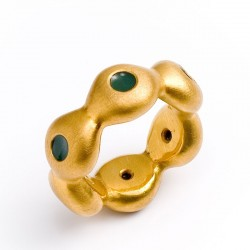 Ring, 925 silver, gold-plated, cold enamel