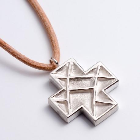 Anhänger, Kassetten Kreuz, 925- Silber