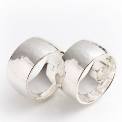 Wedding rings with hammer blow, 925 silver