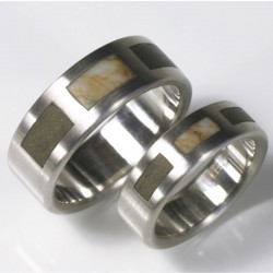Special wedding rings, 950 palladium with stones
