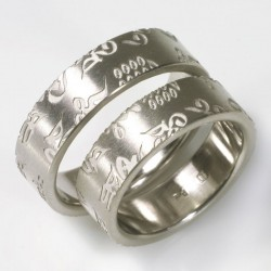 Wedding rings, 950 palladium, external engraving