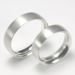 Wedding rings, 950 palladium, differently domed outside and inside