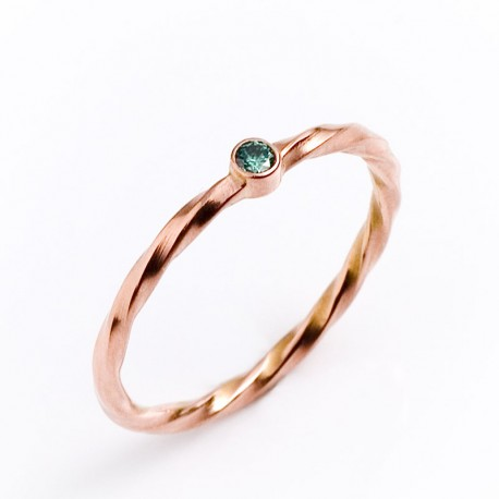 Ring, 585- red gold, green diamond