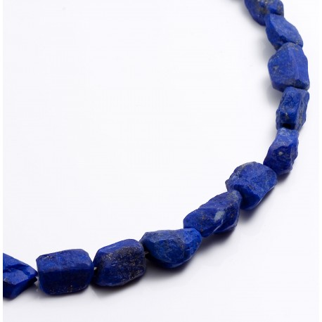 Necklace, lapis lazuli nuggets, 925 silver