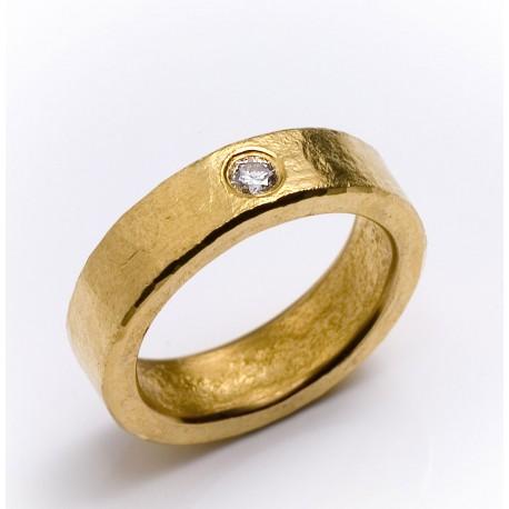 Ring, 999- Gold, Brillant 0,1 ct