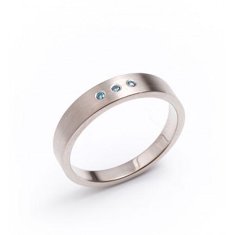 Ring, 750- Weißgold, blaue Brillanten