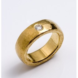Ring, 999- Gold, Brillant 0,21 ct