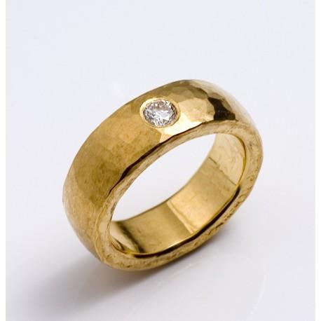 Ring, 999- Gold, Diamond 0,1 ct twif