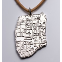 "Pendant ""CCAA"" Cologne city map, 925- silver, leather strap"