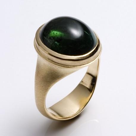 Ring, 750- Gold, grüner Turmalin
