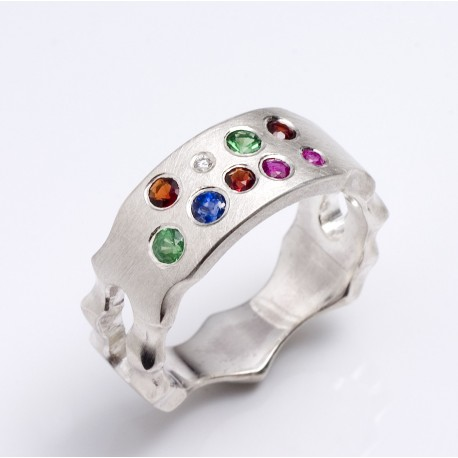 Maharadja ring, 925- sliver, various gemstones