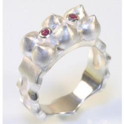Maharaja ring, 925 silver, rubies