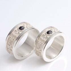 Eheringe, 925- Silber, Lilien Diamantrosen