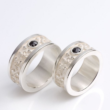 Wedding bands, sterling silver