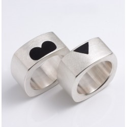 Solid wedding rings, 925 silver, heart