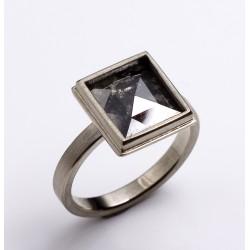 Ring, 750- Weißgold, Diamantrose