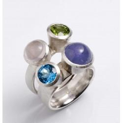 Ring, 925 Silber, vier Edelsteine