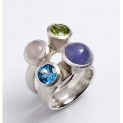 Ring, 925 silver, four gemstones