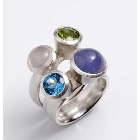 Ring, 925 silver, four gemstones