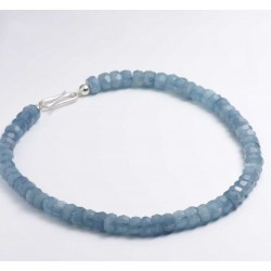 Necklace, 925- silver, aquamarine