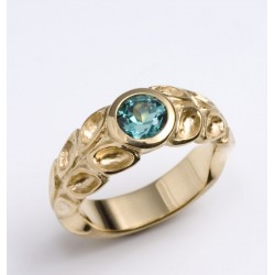 Golden tourmaline ring with green-blue tourmaline