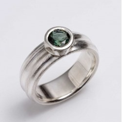 Ring, 925 silver, green tourmaline