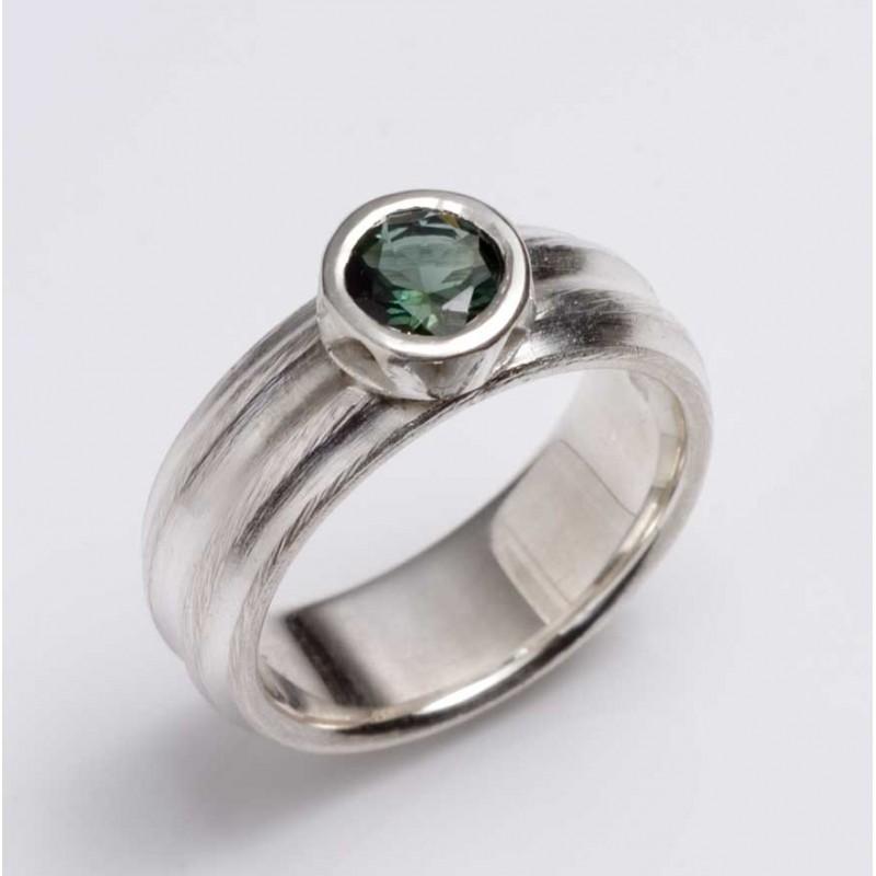 Ring, 925 silver, green tourmaline