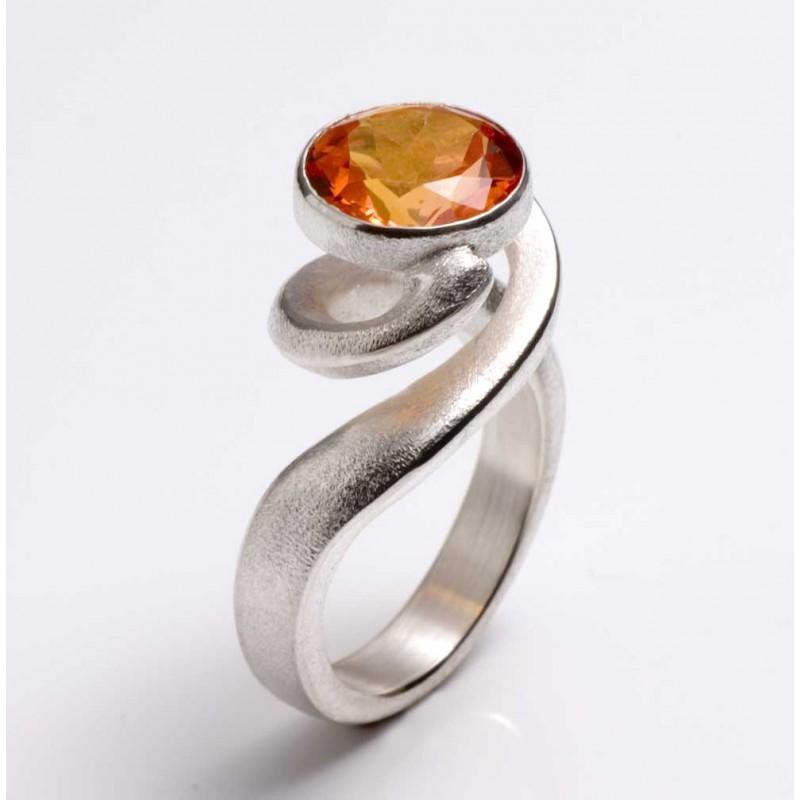 Ring, 925 silver, mandarin topaz
