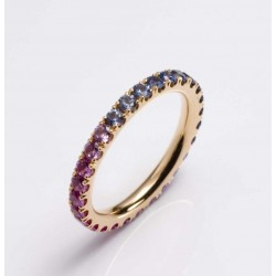 Rose gold ring 750 gold, sapphires in the color gradient pink - violet - blue