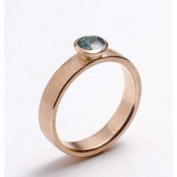 Ring, 750 red gold, green-blue tourmaline