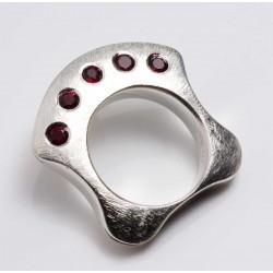 Silver ring, 925 sterling silver 5 garnets