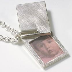 Anhänger, 925- Silber, Medaillon eckig