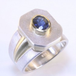 Ring, 925- silver, 585- gold, sapphire