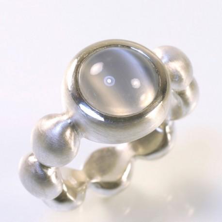 Ring, 925 silver, moonstone cat eye