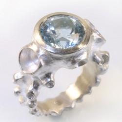 Octopus ring, 925- silver topaz