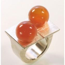 Ring, 925 silver, carnelian