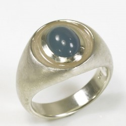 Ring, 925 Silber, Aquamarin Cabouchon