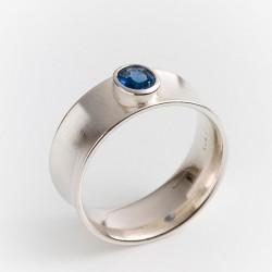 Ring, 925- Silber, Hohlkehle, Saphir