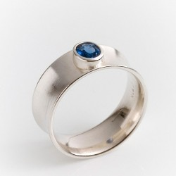 Ring, 925 silver,  hollow arched, sapphire