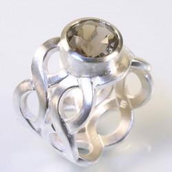 Pigtail ring, 925 silver, smoky quartz