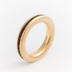 Ring, 750 gold, onyx balls