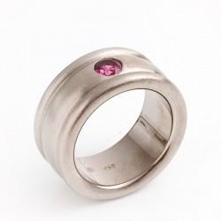 Ring, 750- Weißgold, rosa Rhodolith