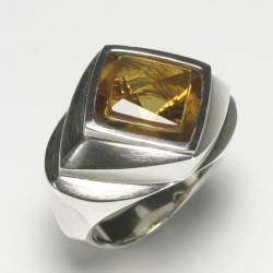 Ring, 925 silver, citrine rhombus