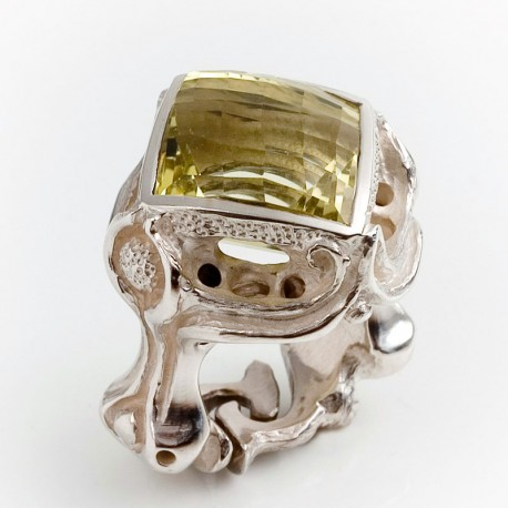 Ring, 925 silver, The ring, Lemon quartz