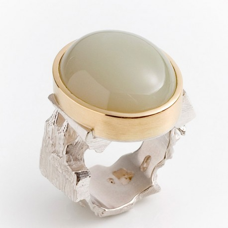 Cologne ring, 925- silver, 750- gold, moonstone
