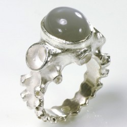 Octopus ring, 925- silver moonstone
